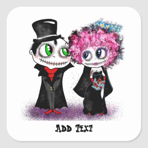 Cute zombie bride and groom cartoon GOTH wedding Square Stickers