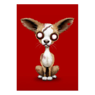 Cute Zombie Chihuahua Puppy Dog on Red Business Cards