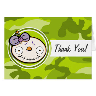 Cute Zombie Girl; bright green camo, camouflage Greeting Cards