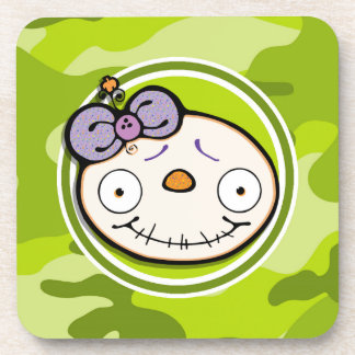 Cute Zombie Girl bright green camo camouflage Drink Coasters