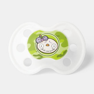 Cute Zombie Girl bright green camo camouflage Baby Pacifiers