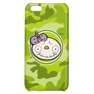 Cute Zombie Girl bright green camo camouflage Case For iPhone 5C