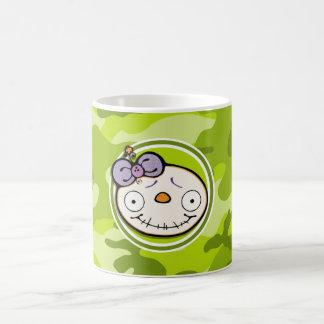 Cute Zombie Girl bright green camo camouflage Mugs