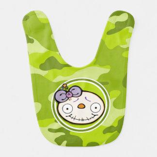 Cute Zombie Girl bright green camo camouflage Baby Bib
