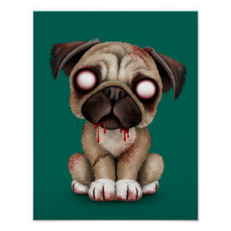 Cute Zombie Pug Puppy Dog on Teal Blue Print