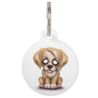 Cute Zombie Puppy Dog on White Pet Tag