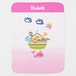 Cute Zoo Animal Ark with a Butterfly and Whale Baby Blanket