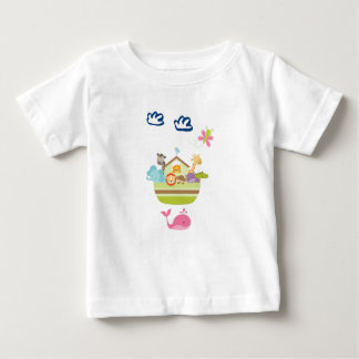 Cute Zoo Animal Ark with a Butterfly and Whale Baby T-Shirt