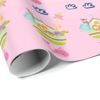 Cute Zoo Animal Ark with a Butterfly and Whale Wrapping Paper