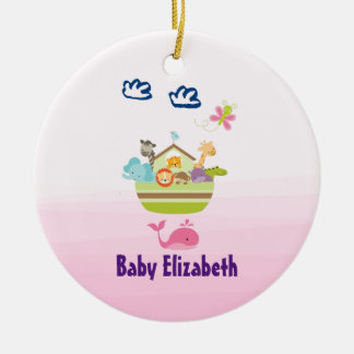 Cute Zoo Animal Ark with a Butterfly Pink Baby Christmas Ornament