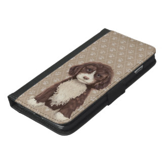 ©CuteLittlePuppy Labradoodle Dog Puppy Beige iPhone 6/6s Plus Wallet Case
