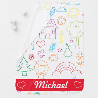 Cutely drawn kid's Fantasy Baby Blanket