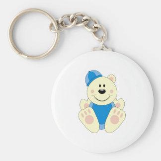 Cutelyn Baby Boy Snow Polar Bear Basic Round Button Key Ring