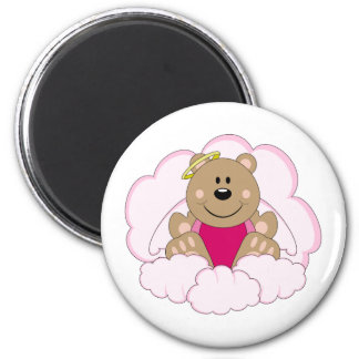 Cutelyn Baby Girl Angel Bear On Clouds Magnet
