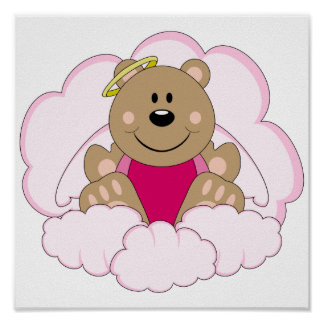 Cutelyn Baby Girl Angel Bear On Clouds Poster
