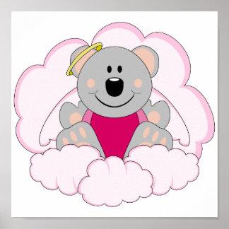 Cutelyn Baby Girl Angel Koala Bear On Clouds Poster