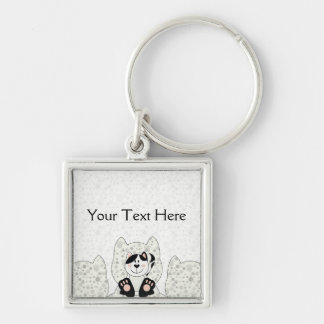 Cutelyn Black Spotted Cat Silver-Colored Square Keychain