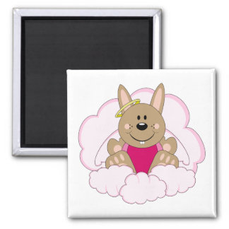 Cutelyn Brown Baby Girl Angel Bunny On Clouds Fridge Magnet