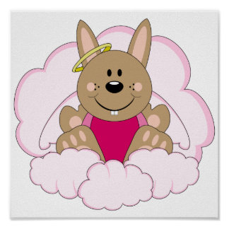 Cutelyn Brown Baby Girl Angel Bunny On Clouds Print