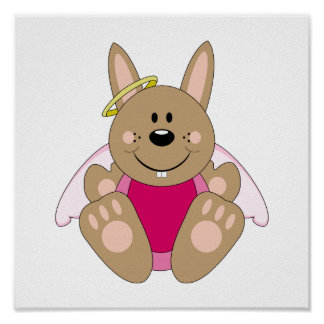 Cutelyn Brown Baby Girl Angel Bunny Posters