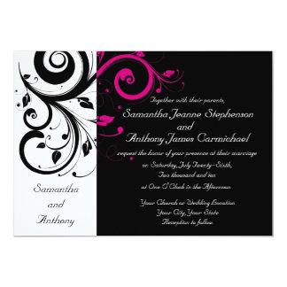 CuteNComfy Black Magenta Swirl Wedding Invitations