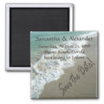 CuteNComfy Sand Writing on Beach, Save the Date Square Magnet