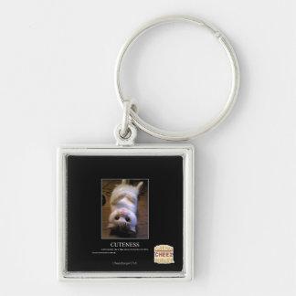 Cuteness Silver-Colored Square Key Ring