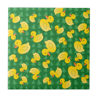 Cuter rubber ducks green christmas trees small square tile