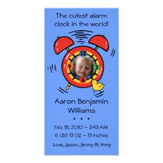 Cutest Alarm Clock Custom Baby Announcement Photo Cards