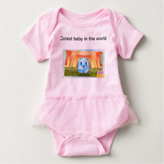 Cutest baby in the world pink babygro,sewn in tutu baby bodysuit
