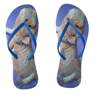 Cutest Bearded Dragon Photo Blue Flip Flops