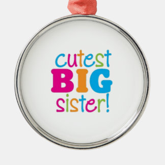 CUTEST BIG SISTER Silver-Colored ROUND DECORATION