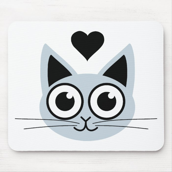 Cutest Blue Cat Mouse Pad