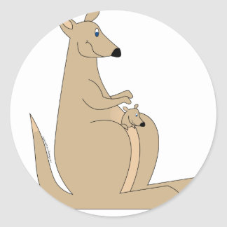 Cutest cartoon kangaroo with baby gifts and tees! round stickers