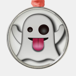 Cutest Ghost next to Casper! Silver-Colored Round Decoration