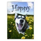 Cutest Husky Dog Happy Birthday Card