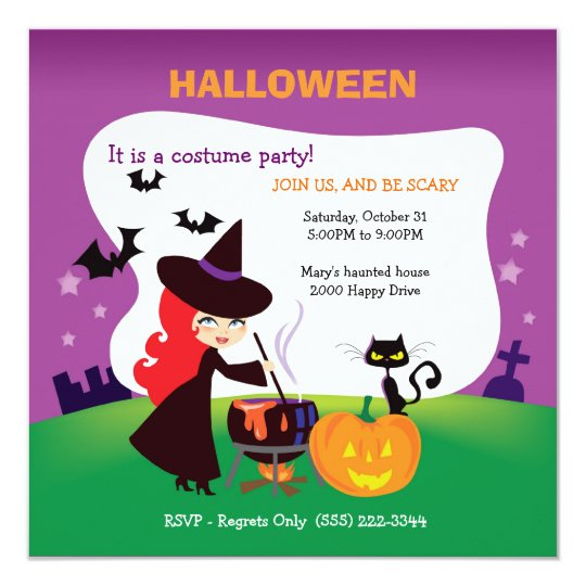 Cutest Kid Halloween Party with witch Card