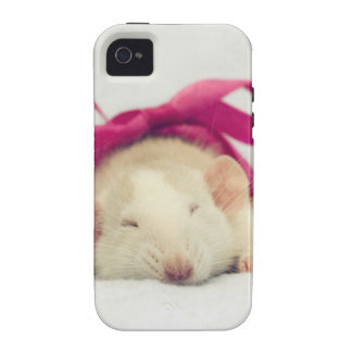 Cutest sleeping Rat with bow Case-Mate iPhone 4 Covers