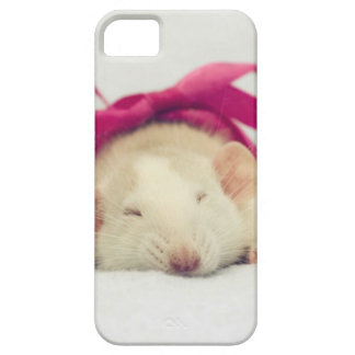 Cutest sleeping Rat with bow iPhone 5 Cover