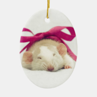Cutest sleeping Rat with bow Ceramic Oval Decoration