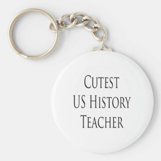 cutest us history teacher basic round button key ring