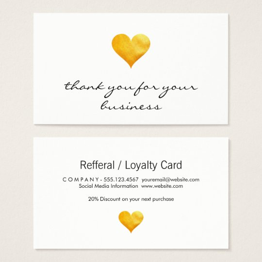 Cutesy Gold Heart Thank You Business Card