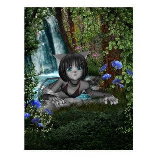 Cutie Anime Kitten Waterfalls 1 Postcard