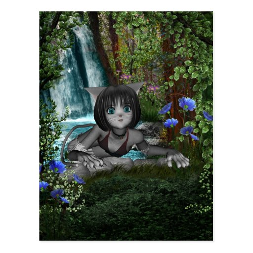 Cutie Anime Kitten Waterfalls 1 Postcard