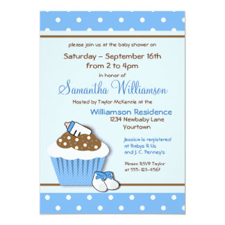 Cutie Blue Cupcakes Baby Shower Invitations