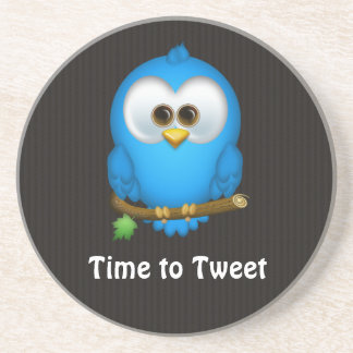 Cutie Blue Tweet Bird Sandstone Coaster