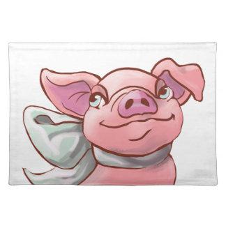 Cutie Bow Piglet Cloth Place Mat