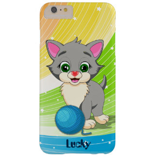 Cutie Grey Kitten Cartoon Barely There iPhone 6 Plus Case