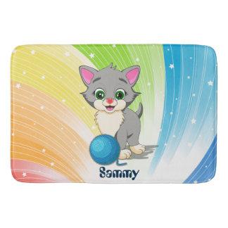 Cutie Grey Kitten Cartoon Bath Mat