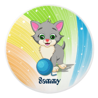 Cutie Grey Kitten Cartoon Ceramic Knob